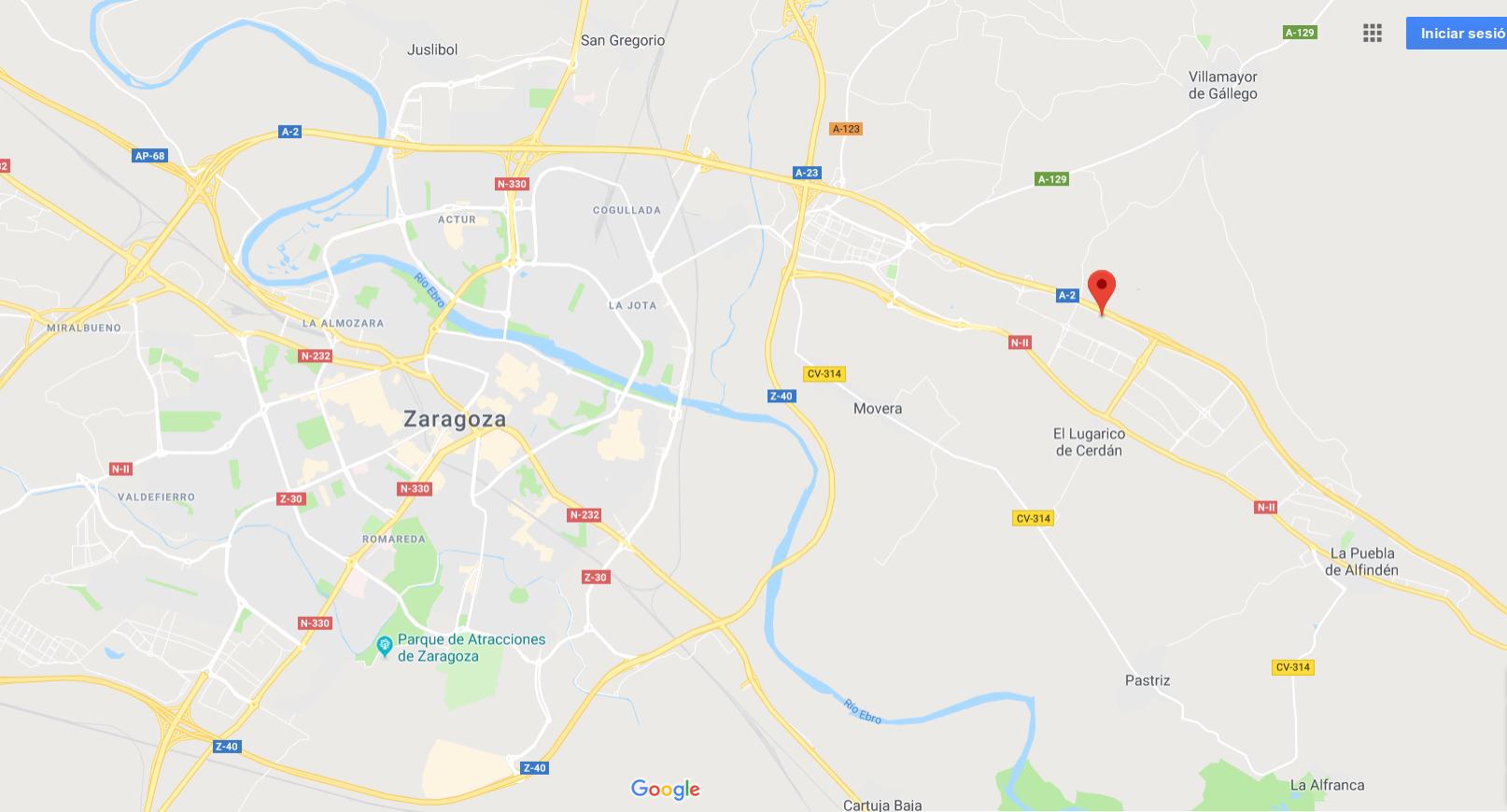 mapa localización TLP Zaragoza